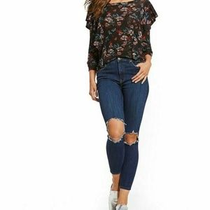 Free People Womens Size 29R Busted Knee Jeans 4Z39
